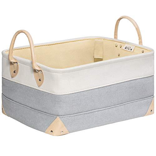 Decorative Fabric Storage Bins Basket, 15.7x11.8x8.3' Large Canvas Laundry Room Storage, Fabric Storage Baskets for Closet Shelves, Collapsible Storage Bins Baskets Linen Closet Organizers for Towels