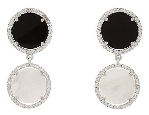 Alexandra plata - Pendientes de nácar blanco y ónix natural en forma redonda y plata de ley 0925 con pavé de circonitas. medidas 4x2cms.