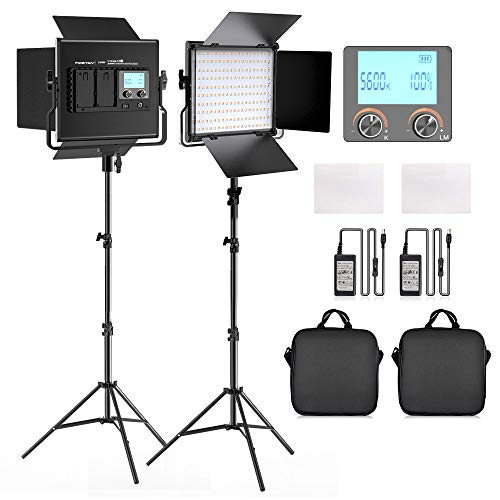 FOSITAN 2 Pack Bi-Color LED Luz de Vídeo 3200K-5600K Panel de luz y Kit de Soporte en U y Barndoor para Cámara Foto Estudio Video Filmación