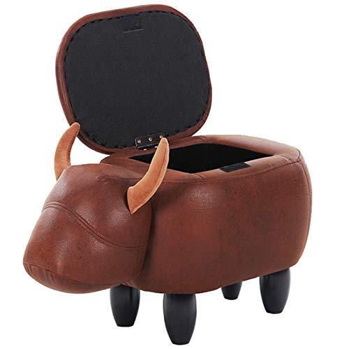 Otomano,Cuero Versátil Impermeable Almacenamiento Banco De Zapatos,Vaca En Forma De Animal Reposapiés Pequeño,Para La Habitación Para Niños Pasillo Descanso De Pies Escabels-G 63x33x36cm(25x13x14inch)