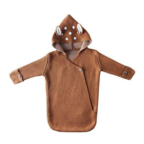 AIBAB Herbst Und Winter Sweatshirt Stricken Baby Fawn Ohren Mit Kapuze Dreidimensionaler Schlafsack Pyjama