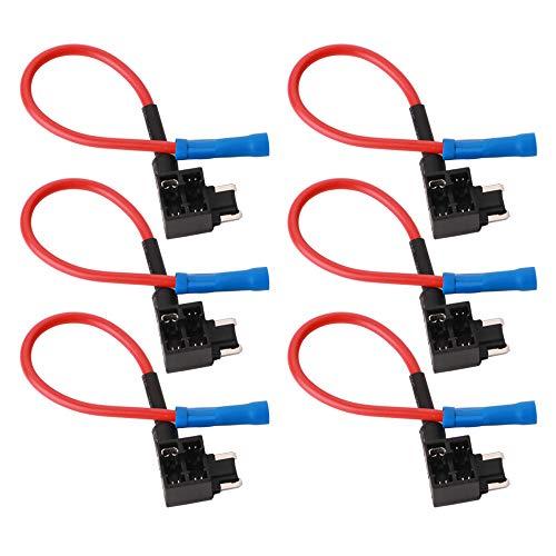 GTIWUNG 6Pcs 32V Add-a-Circuito Portafusibles, Portafusible con Hilo in-line Coche Circuito Cuchilla...