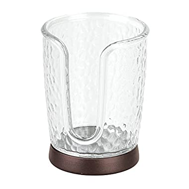 InterDesign Rain Disposable Paper and Plastic Cup Dispenser for Bathroom Vanity and Countertops-Clear/Bronze