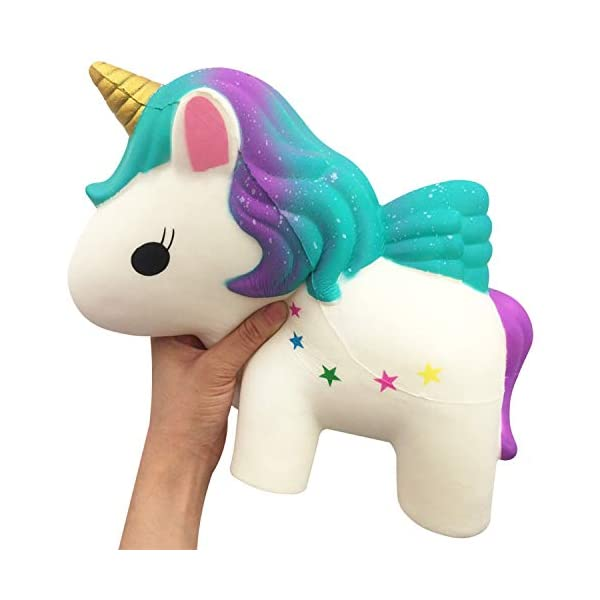 YXJC Fun Toys Squishies, 30cm Giant Oversized Unicorn Squishy, Creamy Aroma Slow Rising Squeeze Toys for Boys and Girls Gifts (Color : Rainbow) 5