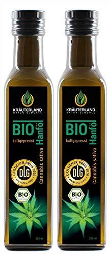 Kräuterland - Bio Hanföl 500ml (2x250ml) - 100{f995d124c7a59dc213d0e8af317de6f1d65372a0d266f2e99286099e819f6668} rein, hoher Anteil an Omega 3-6-9 Fettsäuren, kaltgepresst, vegan in Premium Qualität - Frischegarantie: mühlenfrisch direkt vom Hersteller