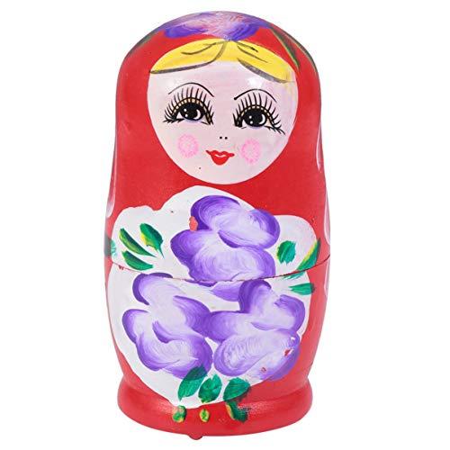 STOBOK Russische Nistpuppen Holz Matroschka Puppen Handgefertigt Wunschpuppe Sammlung Spielzeug für Geburtstagsfeier Gunst Geschenk Rot