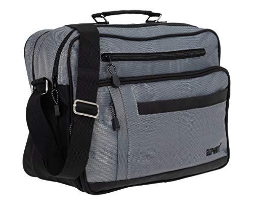 Elephant Flugumhänger Mailand Arbeitstasche Reisetasche Tasche Herren Damen Querformat 3714 + Etui (Grau)