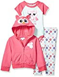 Quiltex Baby Girls Footed Leggings, Hoodie, and Creeper 3pc Set, owl Love You, 24M