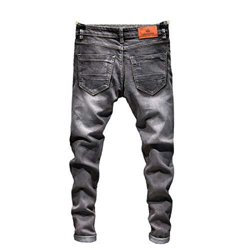 Huntrly Pantalones Vaqueros para Hombre Primavera y otoo Pantalones de Mezclilla Ajustados Rectos Retro Casuales Europeos y Americanos Pantalones Vaqueros Casuales elsticos de Moda 38