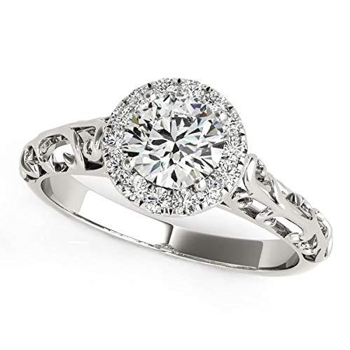 Anillo de compromiso de oro blanco de 14 quilates con halo de diamantes de estilo antiguo (5/8 quilates)