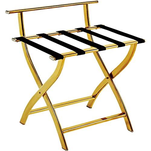 Riyyow Rack per Bagagli in Acciaio Inox, portabagagli per Bagagli Pieghevoli della Camera d'albergo 600 * 470 * 660 mm (Color : Gold)