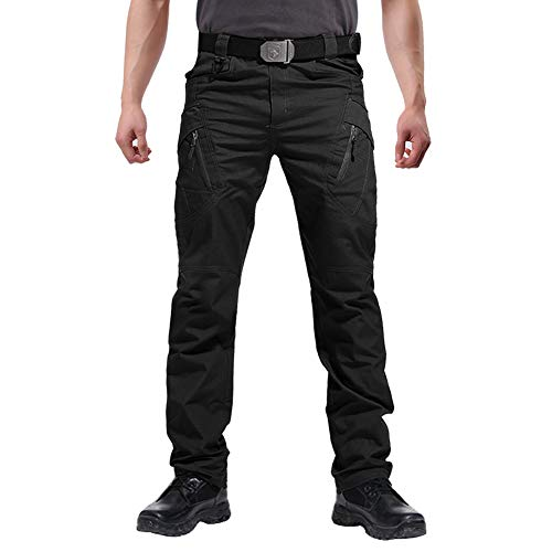 FEDTOSING Cargohose Herren Vintage Militär Tactical Hosen mit Stretch Arbeitshose Outdoor Viele Taschen Leichte Baumwolle(EUBlack XL)