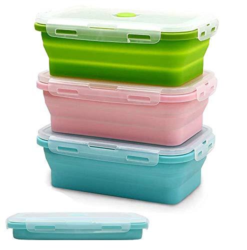 SUPEROK SUPEROK Faltbare Lebensmittelbox, Silikon-Frischhaltedosen,wiederverwendbar, BPA-frei, Brotdosen, Mikrowellen, Sicherheitsbehälter,für Camping, Wandern, Reisen (3 Stück 1200 ml)