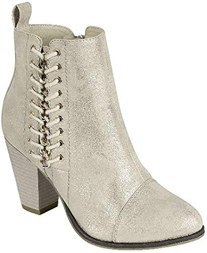 Forever Link Camilia-68 Mid Heel Lace Design Side Zip Ankle Bootie (5, Champaigne-68)
