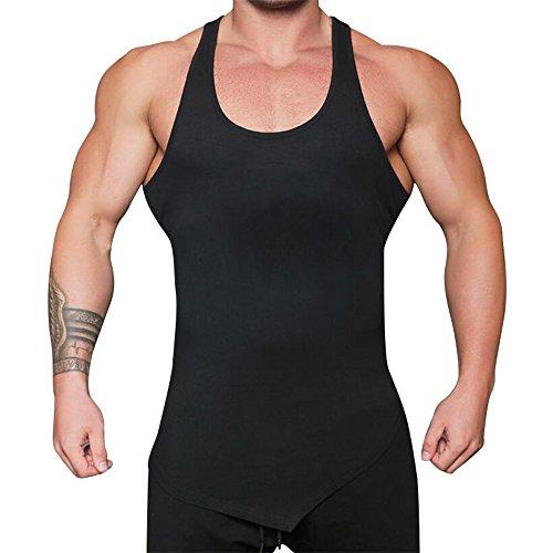 Camisetas de Tirantes para Hombre Deportivos Fitness Entrenamiento Correr Gym Músculo Moda Color Sólido Personalizadas Dobladillo Irregular Chaleco de Verano MMUJERY