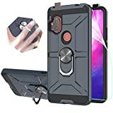 StarLodes Compatible for Motorola Moto One Hyper Case,[HD Screen Protector] Heavy Duty Shockproof Defender Cover with Rotatable Ring Kickstand Fit Magnetic Car Mount-Navy Blue