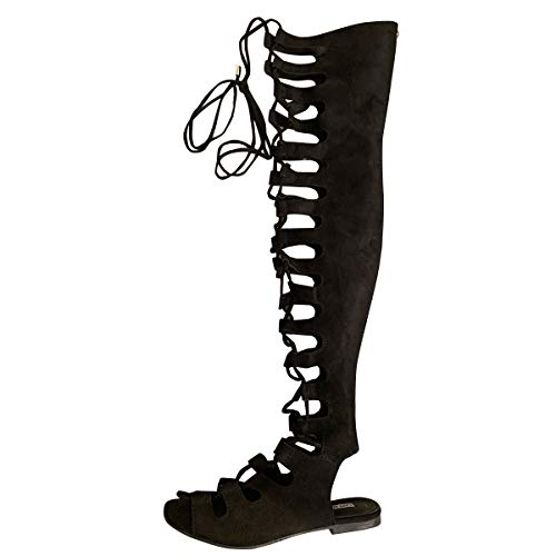 Cape Robbin Womens Open Toe Lace Up Gladiator Over The Knee Thigh High Caged Flat Sandal Boot,Black,7