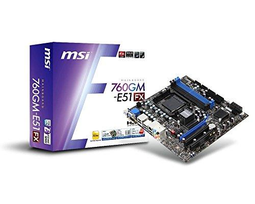 MSI 760GM-E51 (FX) - Socket AM3 AMD 760G/SB710 Chipset MicroATX Motherboard DDR3 8CH Audio Gigabit Ethernet DVI
