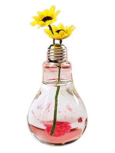Westeng-Glas-Vase in Glühbirnenoptik, transparente Vase, Blumen-Behälter/Topf, Garten-Deko, strapazierfähig und leicht