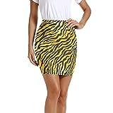 MNSRUU Animal Tiger Print Negro Amarillo Mujeres Faldas Cortas Mini Lápiz Cintura Por encima de la rodilla Bodycon Falda