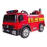 Camión Bombero eléctrico Rojo 35W : Casco,Lanza de Fuego,Extintor,Indicador batería,Mando Parental