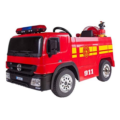 PLAY4FUN Camion de Pompier Electrique Rouge 35W pour Enfant