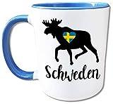 Schweden Tasse Elch, Schweden Geschenke, Herz mit schwedischer Flagge, Skandinavien Urlaub, Schweden Liebe, Kaffeetasse, Teetasse, Keramik