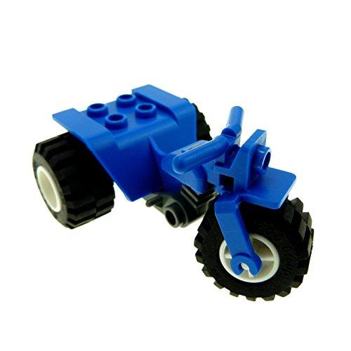 1 x Lego Trike Motorrad blau und Räder weiß Bike F61