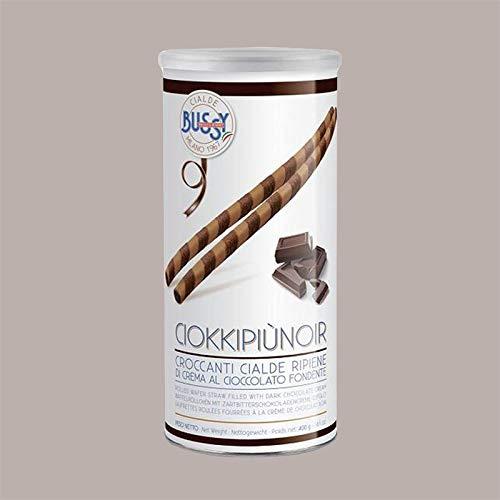 Lucgel Srl 400 gr Tubo Ciokkopiùnoir Cialde a Sigaretta con Farcitura alla Crema al Cioccolato Fondente per Gelato Pasticceria Decorazioni