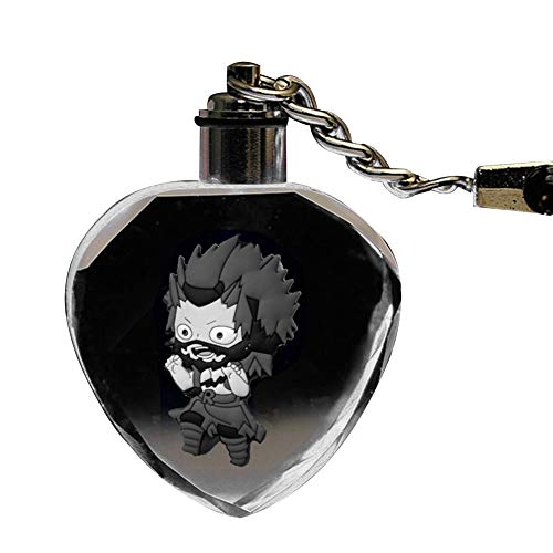 Mini Office Depot Anime My Hero Academia Keychain Schlüsselanhänger Bunter herzförmiger LED-Anhänger, Anime Fans Sammlergeschenk( H05)
