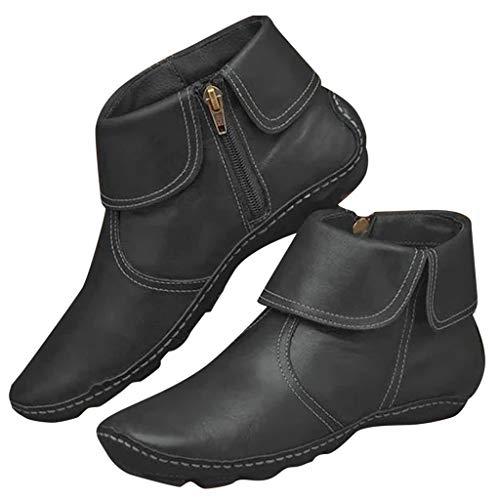 Botas Mujer 2019 Botines Cuero con Cremallera Lateral Botas Tacón Plano Cómodas Mujeres Botas Cortas Cuña de Plataforma Zapatos Casuales 35-43 riou