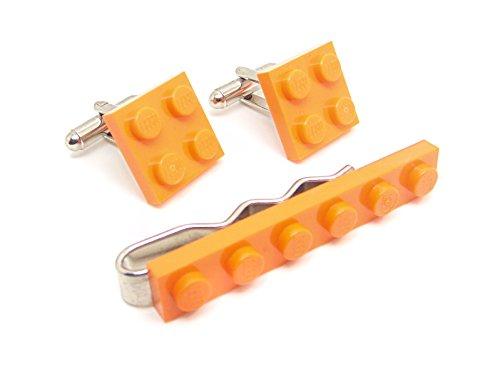 LEGO véritable Orange plaque Pince à cravate et boutons de manchette – Funky rétro Cool Boutons de manchette fabriqué par Jeff Jeffers