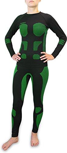 Polar Husky® Damen Thermo Funktionsunterwäsche Set mit Kompressionseffekt Hose und Hemd Farbe Grün Größe S/M