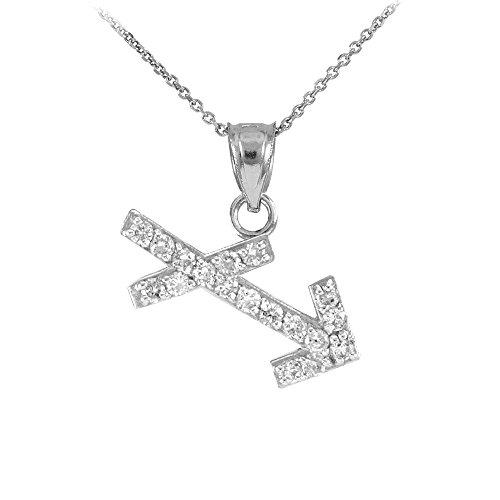 "Astrology Jewelry High Polish 14k White Gold Diamond Sagittarius Zodiac Pendant Necklace, 22"""