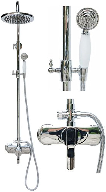 Retro Duschset Duschgarnitur Regendusche Set Brausegarnitur Einhebel Armatur Duschstange Mischbatterie Duschkopf Chrom