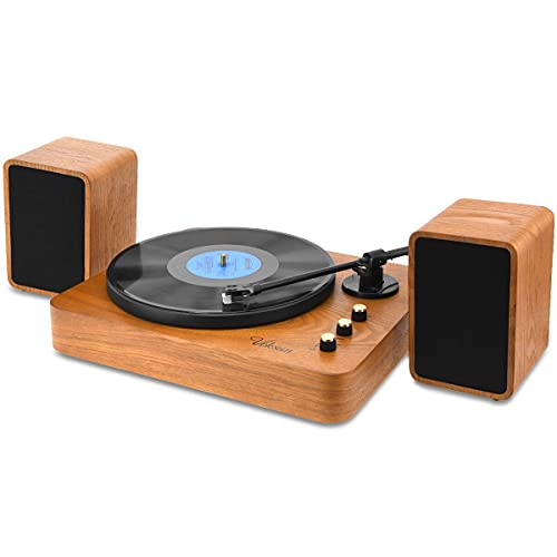 Voksun 3-Speed Precision Turntable with Dual 15 Watt Speakers, High Fidelity Vinyl Record Player with Magnetic Cartridge, Belt-Drive, Bluetooth, Natural Walnut