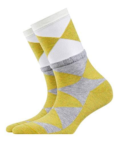 BURLINGTON Damen Socken Chic Argyle - Baumwollmischung, 1 Paar, Weiß (White 2000), Größe: 36-41