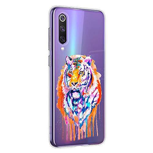 Oihxse Compatible con Xiaomi Mi 9 Pro 5G Funda Suave Gel TPU Silicona Cristal Transparente Carcasa Acuarela Animal Pintado Patrón Protectora Estuche Bumper Caso Case (B7)