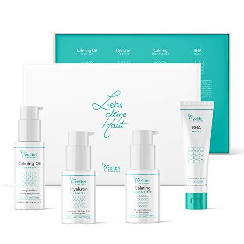 Colibri Cosmetics 4er Geschenk Set - 4 Gesichtspflegeprodukte - Geschenk für Frauen (Freundin, Mama oder Schwester) - Mit Hyaluron Serum (30ml), Cleanser(50ml), Tagespflege(30ml), Gesichtsmaske(50ml)
