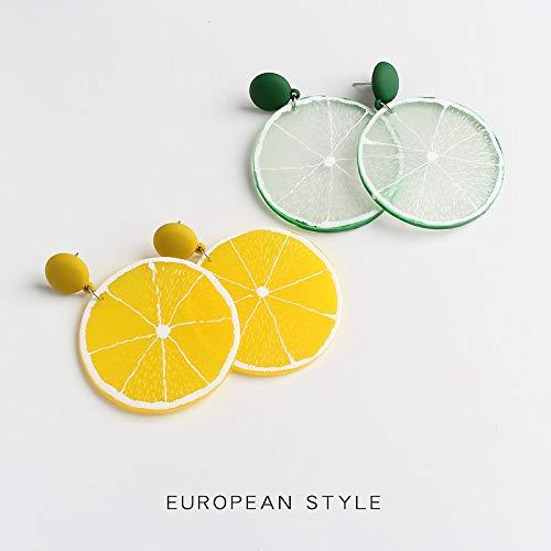 GMZOO Zomer stijl verse citroen bengelen oorbellen voor vrouwen Plant hars overdreven bengelen oorbellen sieraden oorbellen oorbellen