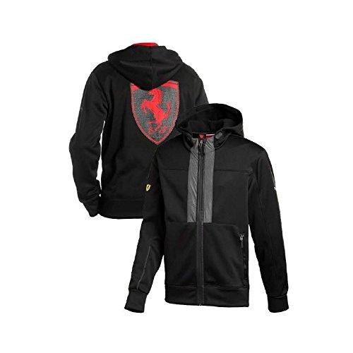 FERRARI Herren-Sweatshirt, mit Wappen am Rücken, Schwarz, Größe S