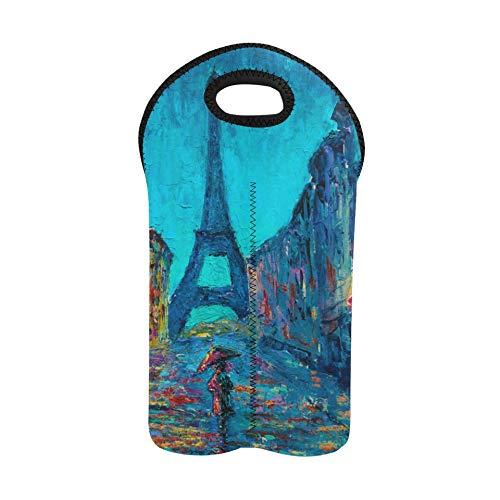 Utility Tote Art Pintura al óleo París Torre Eiffel Bolsa portadora de vino Portabotellas doble Bolsa de vino de vacaciones Portabotellas de neopreno grueso Mantiene las botellas p