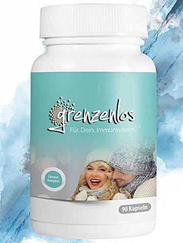 grenzenlos® Immunsystem stärken - Kurkuma, Ingwer, Echinacea + natürliches Vitamin C, Selen & Zink zur Stärkung des Immunsystems - Immunkur mit 90 Kapseln (vegan) - Markenprodukt aus Deutschland
