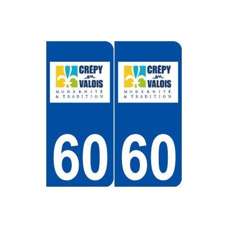 60 Crépy-en-Valois logo autocollant plaque stickers ville - Angles : arrondis