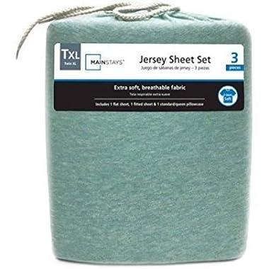 Mainstays Jersey Knit Sheet Set Mint Heather, Queen