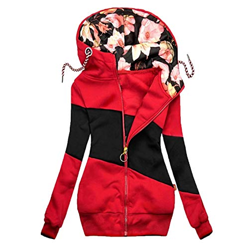 Women Jacket Color Block Floral Printed Hooded Coat Drawstring Slim Long Sleeve Cardigans Casual Loose Tops Red