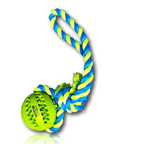 WEPO Hundespielzeug - Schleuderball mit Seil aus Naturkautschuk - Ideal für Welpen - Wurfball für Hunde- Welpenspielzeug - Ball mit Seil/Schnur (7cm)