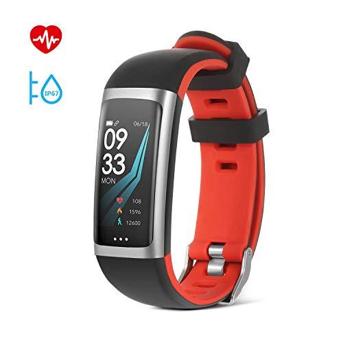 SAVFY Fitness Armband, Farbdisplay Fitness Trackers Wasserdicht IP67 Aktivitätstracker Pulsuhren Schrittzähler Fitness Uhr mit Kamerasteuerung Vibrationsalarm Anruf SMS Kompatibel für iPhone Android
