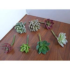 JOELLE STORE 7 Mix Plants Artificial Succulent Snowball And Lotus Flower Grass JOELLE STORE