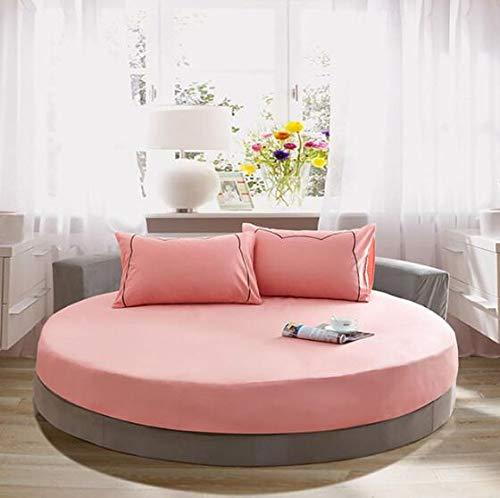 Sábana Ajustable Redonda de algodón Color sólido Funda de Cama Redonda Juego de Cama Funda de colchón Topper 220x220cm 15